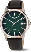 Boccia Titanium 3633.02  horloge - Leer - Zwart - 40 mm