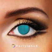 Partylenzen - Blue Mesh - jaarlenzen inclusief lenzendoosje - kleurlenzen Partylens®