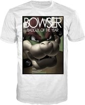 Nintendo - Heren T-Shirt Wit Bowser: Bad Guy of the Year Maat S