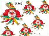 12x Wanddeco masker clown rood-geel-groen belletjes 50x55 cm
