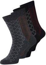 Jack & Jones - Heren 4-Pack Basic Sokken Zwart Grijs - One size