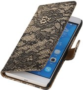Huawei Honor 6 Plus Zwart   Lace bookstyle / book case/ wallet case Hoes    WN™