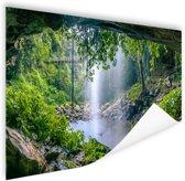 Foto van regenwoud met waterval Poster 120x80 cm - Foto print op Poster (wanddecoratie)