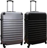 2 delige ABS kofferset 95 liter zilver en zwart (228)