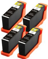 Compatible voor Dell Series 21 (22,23 en 24) InktBV® Inktcartridge-set 4pak. 4 Zwart