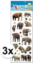 3x Stickervel olifanten