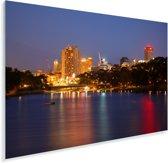 Stadslichten over de rivier de Torrens bij het Australische Adelaide Plexiglas 120x80 cm - Foto print op Glas (Plexiglas wanddecoratie)
