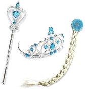 Elsa accessoire verkleed set : kroon, toverstaf en haar vlecht bij jurk