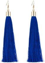 Fako Bijoux® - Oorbellen - Kwast XL - Donkerblauw