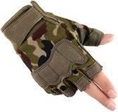 1 Paar Handschoenen zonder Vingers - Army Groen maat M - Fitness Gewichtheffen