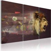Schilderij - leeuw (abstractie)