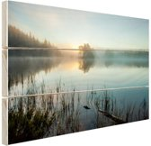 Zonsopkomst bij het meer Hout 60x40 cm - Foto print op Hout (Wanddecoratie)