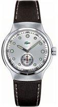 Lacoste horlogeband 2000329 / LC-09-3-14-0025 Leder Zwart 17mm + wit stiksel