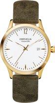 Orphelia Fashion OF714822 Suede horloge Vrouwen - Olijfgroen Suede Leer