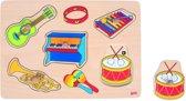 Goki Knopjespuzzel Met Geluid: Muziekinstrument 5-delig Hout