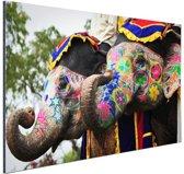 FotoCadeau.nl - Twee beschilderde olifanten Aluminium 180x120 cm - Foto print op Aluminium (metaal wanddecoratie)