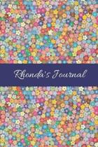 Rhonda's Journal: Cute Personalized Name College-Ruled Notebook for Girls & Women - Blank Lined Gift Journal/Diary for Writing & Note Ta