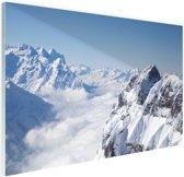 Berglandschap in de winter Glas 180x120 cm - Foto print op Glas (Plexiglas wanddecoratie) XXL / Groot formaat!