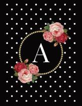 Black and White Polka Dot Vintage Floral Monogram Journal with Letter a