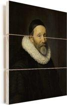 Portret van Johannes Wtenbogaert - Schilderij van Michiel Jansz van Mierevelt Vurenhout met planken 120x160 cm - Foto print op Hout (Wanddecoratie) XXL / Groot formaat!