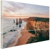 Foto van strand met klif Hout 80x60 cm - Foto print op Hout (Wanddecoratie)