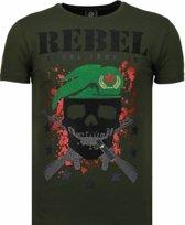 Local Fanatic Skull Rebel - Rhinestone T-shirt - Groen - Maten: S