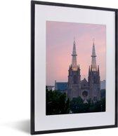 Foto in lijst - De Kathedraal van Jakarta fotolijst zwart met witte passe-partout klein 30x40 cm - Poster in lijst (Wanddecoratie woonkamer / slaapkamer)