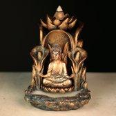 Wierook - Backflow - Boeddha op Lotustroon - 14 cm