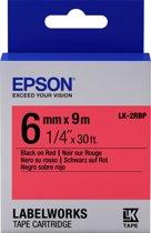 Epson Pastel Tape - LK-2RBP Pastel Blk/Red 6/9