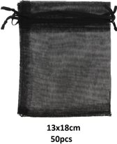 Cadeauzakjes - Gift Bag - 50 stuks - 13x18 cm - Zwart - Dielay