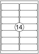 etiket zelfklevend - 99,1 x 38,1 mm - 14 etiketten per vel A4 - 100 vel