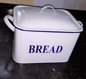 Broodtrommel emaille look breadbox wit