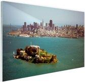 Alcatraz en de skyline van San Fransisco Glas 60x40 cm - Foto print op Glas (Plexiglas wanddecoratie)