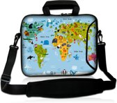 Laptoptas 15,6 inch wereldkaart dieren - Sleevy
