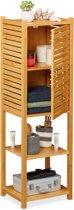 relaxdays badkamer kast bamboe - badkamerrek - badkamermeubel hout - badkamerkast