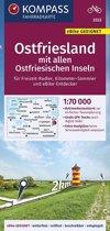 KOMPASS Fahrradkarte Ostfriesland mit allen Ostfriesischen Inseln 1:70.000, FK 3322