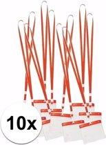 10 x badgehouder met rood keycord - lanyard naamkaarthouders