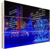 Verlichte kunstwerken in Sapporo-shi Vurenhout met planken 120x80 cm - Foto print op Hout (Wanddecoratie)