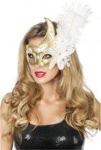 Venetiaans oogmasker wit/goud met veer