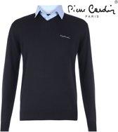 Pierre Cardin - Heren V-hals trui met overhemdkraag -Navy