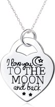Fate Jewellery FJ482 – I Love you to the Moon and back – 925 Zilver – Hartje – 45cm + 5cm