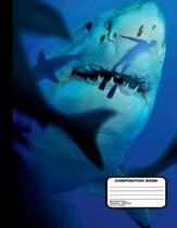 Killer Sharks with Diver Composition Notebook Wide Ruled 200 Pages / 100 Sheets, 8-1/2 X 11