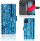 iPhone 11 Pro Max Book Style Case Blauw Wood