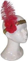 Charleston hoofdband met rode veer
