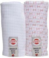 Lodger hydrofiele doeken Swaddle Scandinavian print roze + wit