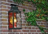 koperen lantaarn DE NOOD® model Scheveningen, in groen en rood gelakt, met messing gepolijste achterspiegel