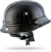 MOTO • LEATHER BLACK • M • Helm Motor Retro Vespa Scooter Jethelm Stahlhelm Braincap