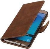 Hout Bookstyle Hoesje voor Samsung Galaxy J7 (2016) Bruin