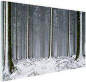 Besneeuwde bomen in de winter Glas 90x60 cm - Foto print op Glas (Plexiglas wanddecoratie)