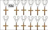 12x Paterskruis / monnikskruis met koord